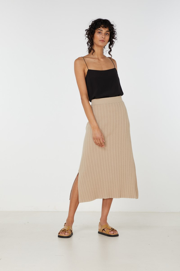Elka Collective Yana Knit Skirt Light Taupe