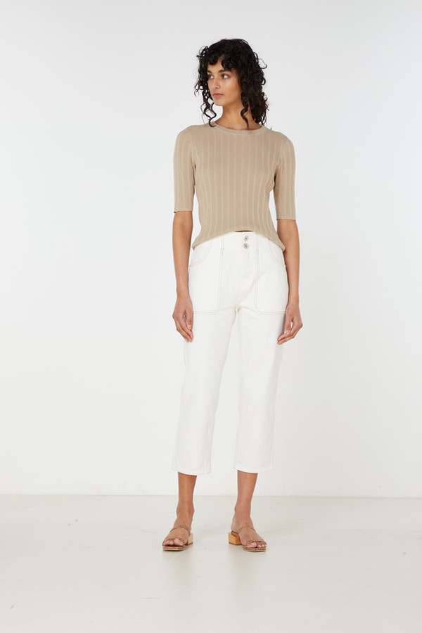 Elka Collective Yana Knit Top Light Taupe