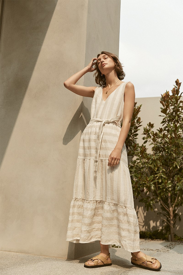 Elka Collective Seraphine Maxi Dress Tan Stripe
