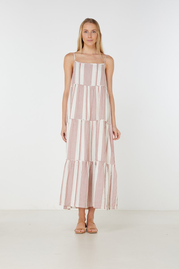 Elka Collective Adele Maxi Dress Rust Stripe
