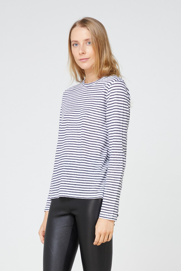 Elka Collective Ec Linen Ls Tee 2.0 Navy Stripe