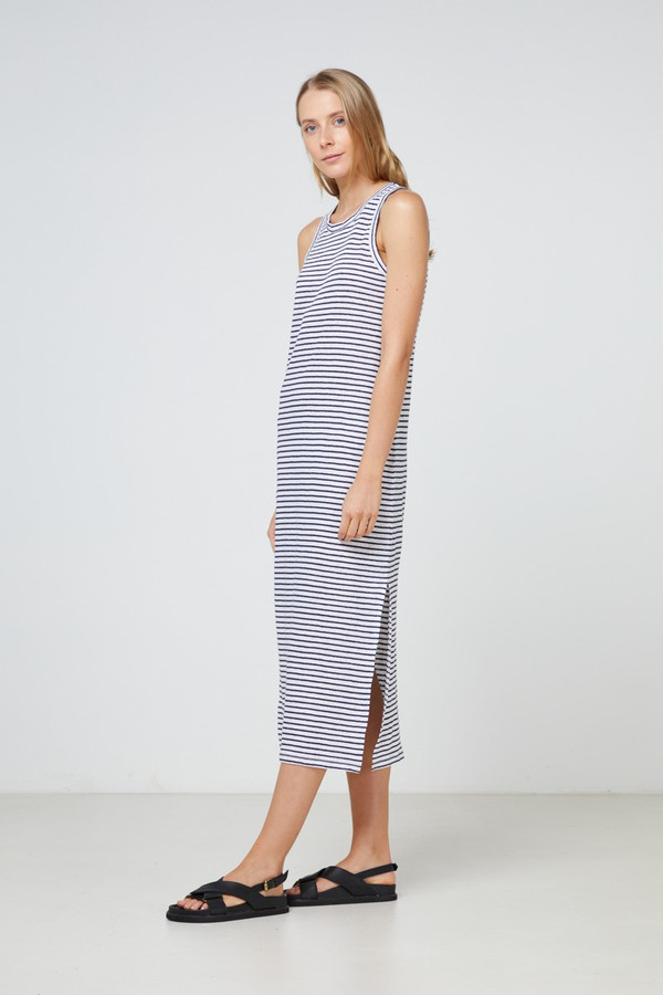 Elka Collective Ec Linen Tank Dress 2.0 Navy Stripe