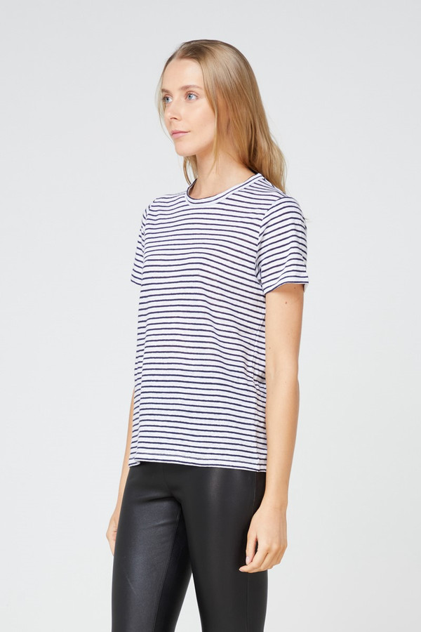 Elka Collective Ec Linen Crew Neck Tee 2.0 Navy Stripe