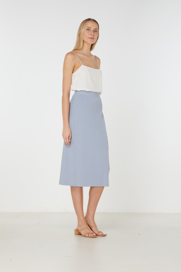 Elka Collective Airley Knit Skirt Dusty Blue