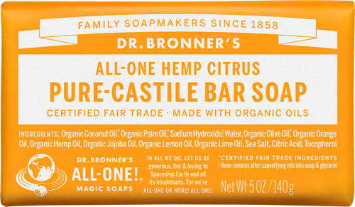 Dr Bronner's All-One Hemp Citrus Orange Pure-Castile Soap Bar