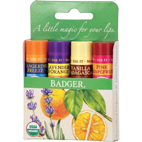 Badger Balm Classic Lip Balm Green Pack - 4 Pack