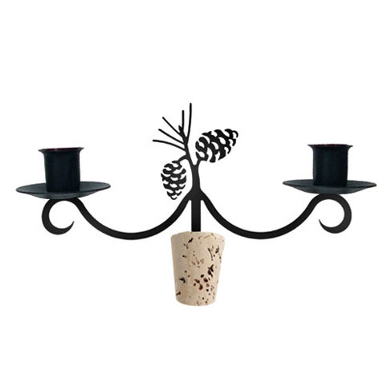 Black Wrought Iron Bottle Topper Candle Holder