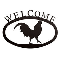 Large Wrought Iron Rooster Welcome Sign