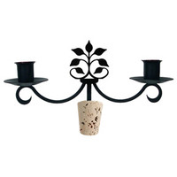 Wrought Iron Leaf Fan  Wine Bottle Candelabra