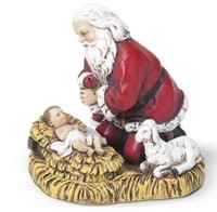 Kneeling Santa with Baby Jesus Christmas Ornament