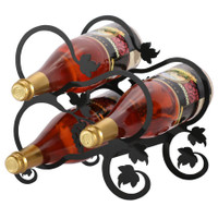 Black Wrought Iron Wine Rack with Grape Leaf design