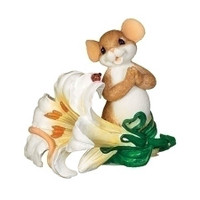 Charming Tails Easter Lily Mouse Figurine