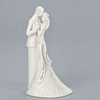 Porcelain Bride and Groom Wedding Cake Topper