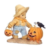 Cherished Teddies Halloween Bear with Pumpkin Figurines