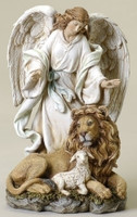 Guardian Angel with Lion and Lamb Figurine