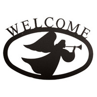 Small Wrought Iron Angel Welcome Sign