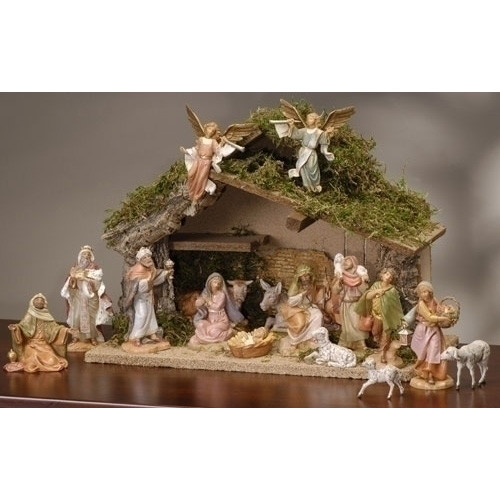 "Fontanini  Nativity Set Italian Stable - 5"" Scale, 16 piece"