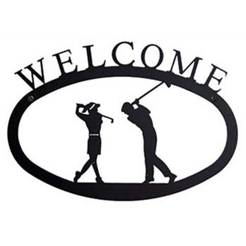Wrought Iron Welcome Sign Golfers LG