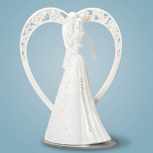 Wedding Cake Topper | Bride and Groom with Heart