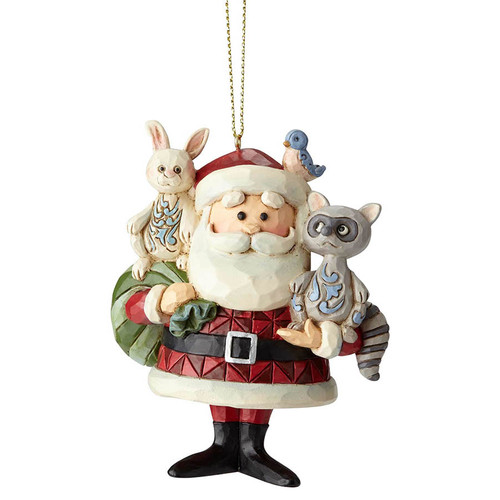 Santa with Woodland Animals Ornament