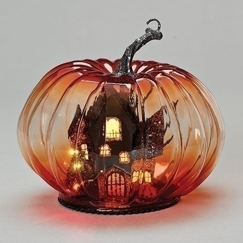 Orange Glass LED Pumpkin with Haunted House inside