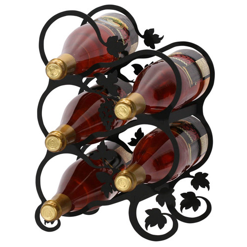 Black wrought iron wine rack with grape motif.  Holds 5 bottles of wine.