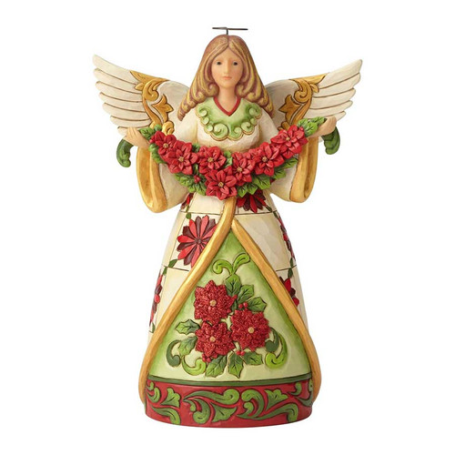 Jim Shore Poinsettia Angel Figurine | The Collectors Hub