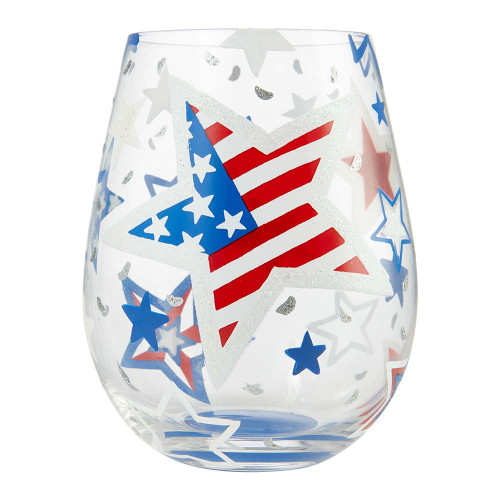 Stars and Strips Patriotic Stemless Wine Glass