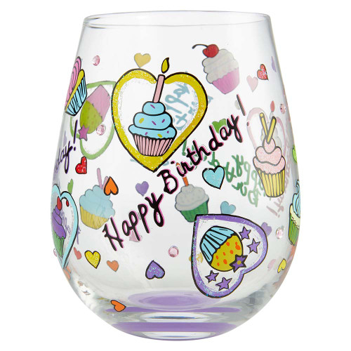 Happy Birthday Stemless Glass