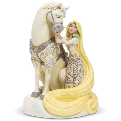 Jim Shore Rapunzel and Maximus Figurine in White Woodland