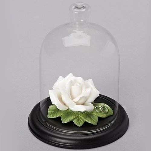 White Porcelain Wedding Rose with Cloche
