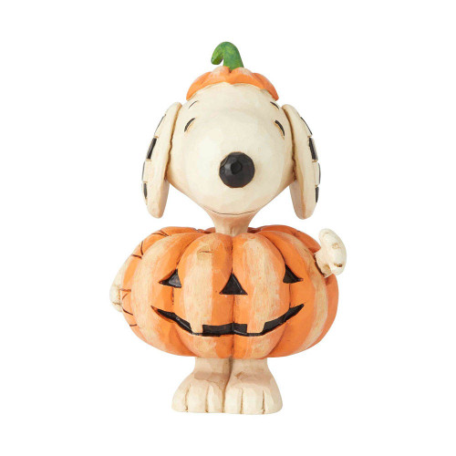 Jim Shore Snoopy in Halloween Jack-o-Lantern costume mini figurine