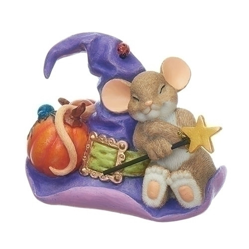 Charming Tails Halloween Mouse in Witches Hat figurine