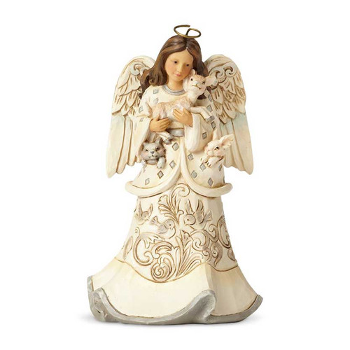 Jim Shore White Woodland Angel with Fawn Figurine | The Collectors Hub