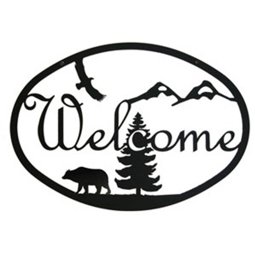Wrought Iron Bear and Eagle Welcome Sign
