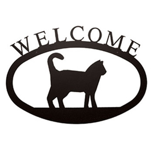 Large Wrought Iron  Cat Welcome Sign