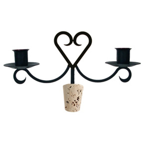 Wrought Iron Heart Wine Bottle Candelabra