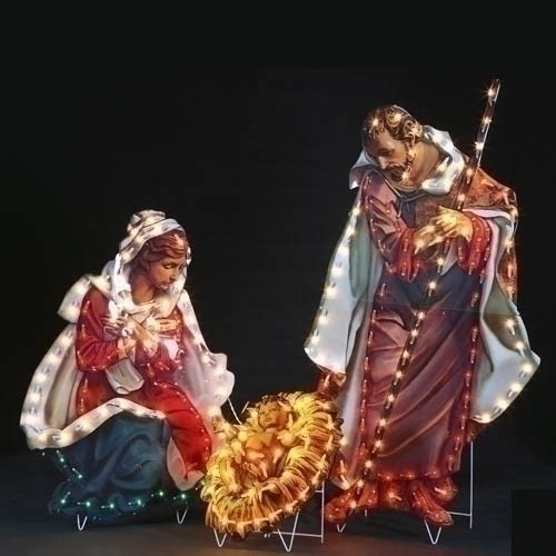 Holy Family Outdoor Lighted yard art