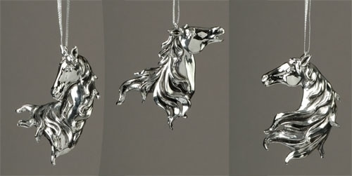 Silver Plate Horse Head Ornaments