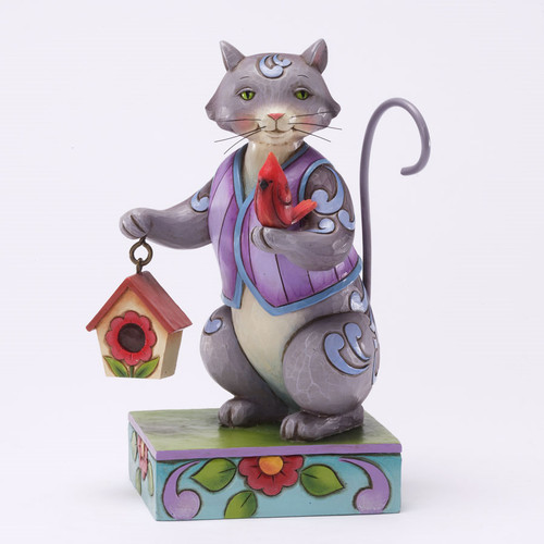 Jim Shore Cat Figurine with Birdhouse