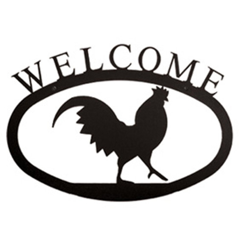 Small Wrought Iron Rooster Welcome Sign