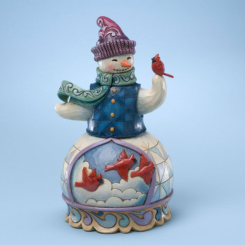 Snowman Figurine with Cardinals