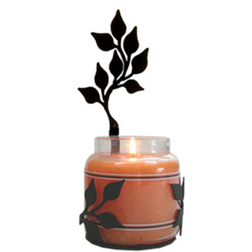 Wrought Iron Leaf Jar Candle Sconce