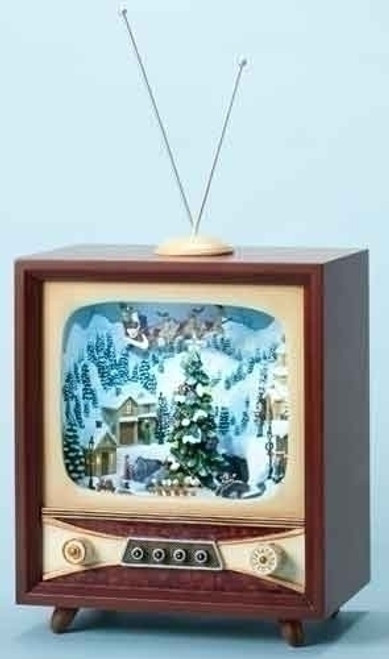 Santa's Visit Christmas Village Music box - inside a vintage inspired console TV