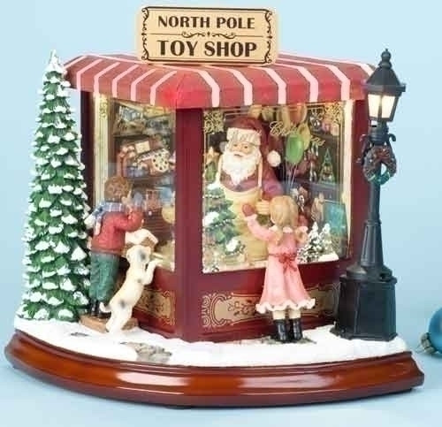 "Santa's North Pole Toy Shop musical figure - 8"" tall"