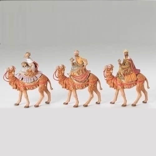 "Fontanini Three Wisemen on camels - 5"" scale"