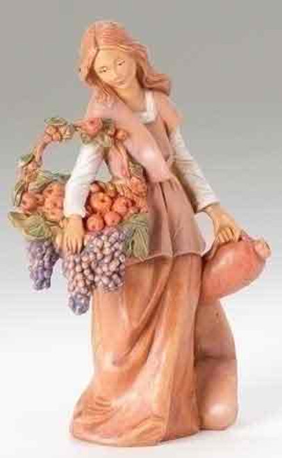 """Fontanini, nativity villager figurine,  Bethany,  woman carrying grapes - 5"""" scale"""