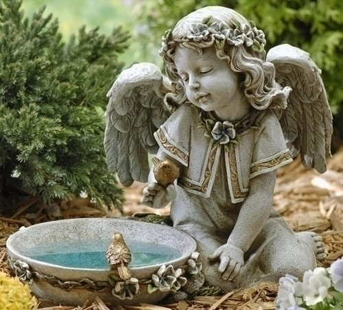 "Solar Angel Bird Bath 11"" tall"