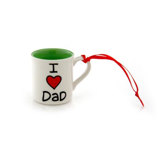 I Heart Dad mini mug ornament