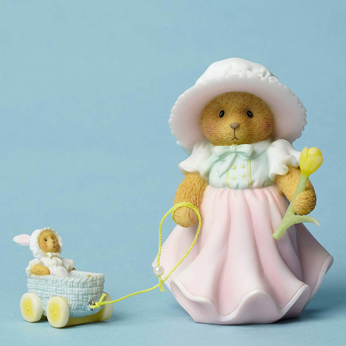 Cherished Teddies Easter figurine with bunny cart